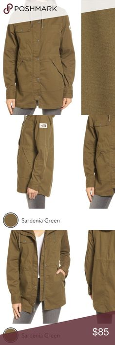 Hooded Utility Camp Jacket Worn once. Patch on the side. Drawstring hood. Lined. Made from blend of cotton and Sorona trifecta elastane. Sold as is. One side has missing metal cap. Other side can be taken off to match. No lowball offers. The North Face Jackets & Coats