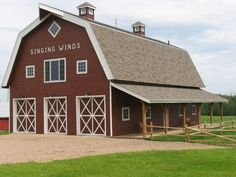 Barn Great Plains Gambrel Barn project by Sand Creek Post & Beam. View this gallery for ideas on your next dream barn. Pole Barn Garage, Pole Barn House Plans, Pole Barn Homes, Gambrel Barn, Gambrel Roof, Cattle Barn, Farm Barn, Rustic Shed, Garage Plans With Loft