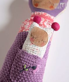 Matea Stuffed Reclaimed Fabric Doll by WhiteFoxInBlackBox on Etsy