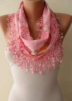 Pink  Scarf with Pink Trim Edge - Flowered Fabric. $15.90, via Etsy.