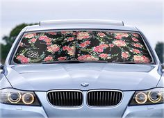 Custom Car Sun Shade Classy Black Floral Monogrammed Sunshades Personalized Windshield  Sun Shades For Car Floral Car Accessories for Women 822e74a3360