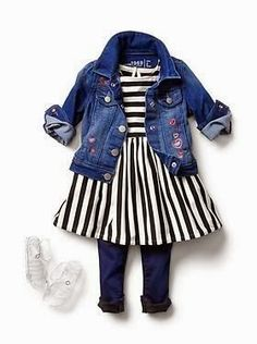 Toddler Girls Fashion: Denim Jackets, Jeans and Stripes LOVE!