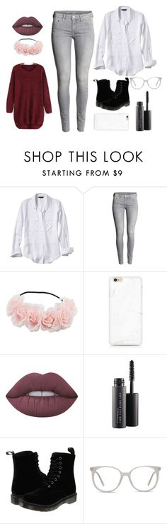 """""""Mono chrome with a pop of red"""" by zagl on Polyvore featuring Banana Republic, Lime Crime, MAC Cosmetics, Dr. Martens and Ace"""