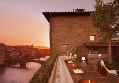 "The recently refurbished ""La Terazza"" – the roof terrace bar of the Continentale hotel in Florence, Italy."