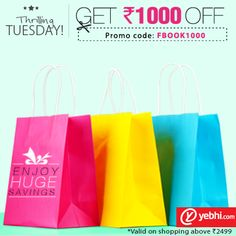 Get 1000 OFF on & above This offer is only for today . Grab it soon before the offer ends . Paper Shopping Bag, Tuesday, Coupons, Coding, Free, Coupon, Programming