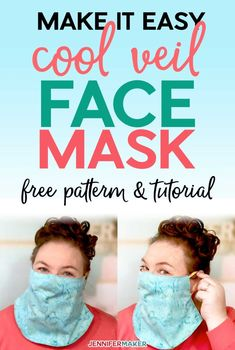 DIY Easy & Cool Veil Face Mask Pattern with Filter Pocket - Free Pattern, SVG Cut File, and Tutorial #facemask #cricut #sewing Easy Face Masks, Diy Face Mask, Face Mask Set, Face Face, Homemade Face Masks, Sewing Hacks, Sewing Tutorials, Small Sewing Projects, Bag Tutorials