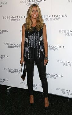 Heidi Klum wearing Saint Laurent Janis Cap-Toe Platform Pump in Black Metallic BCBGMAXAZRIA Show at NYFW Fall 2013 September  2013