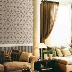Los papeles pintados de Bottega Tessile con diseños clásicos de alta calidad, elegante papel pintado con medallones en gris https://papelvinilicoonline.com/es/87-bottega-tessile