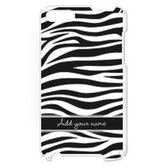 Add NAME zebra stripes iPod Touch Case