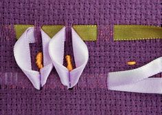 Wonderful Ribbon Embroidery Flowers by Hand Ideas. Enchanting Ribbon Embroidery Flowers by Hand Ideas. Creative Embroidery, Learn Embroidery, Hand Embroidery Stitches, Embroidery Techniques, Embroidery Designs, Ribbon Embroidery Tutorial, Silk Ribbon Embroidery, Monks Cloth, Swedish Weaving