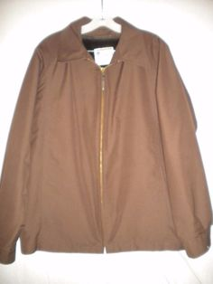 London Fog Size 42 Reg Brown Zip Out Fleece Lining Front Zipper Mens Coat Jacket #LondonFog #CoatJacket