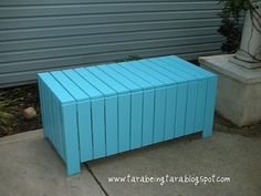 DIY Patio box.  Don't like the color for my yard, but storage is good.  Could throw a cushion on top too...