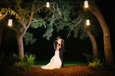 Romantic Nighttime Bride and Groom at Stonehouse Villa