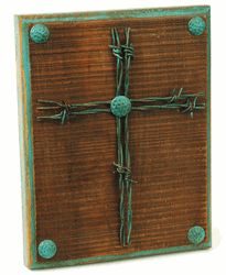 Barbed Wire Cross Plaque