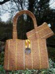 Gold Powys Tweed Tote Bag