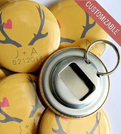 Sweet (and cheap!) wedding favor: Personalized bottle openers | via scoutmob.com