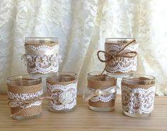 burlap and lace vase wedding decoration bridal shower by PinKyJubb