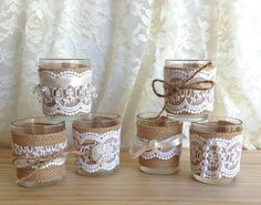 burlap and lace covered 6 votive tea candles country by PinKyJubb, $28.00