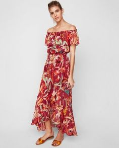 floral off the shoulder fit and flare maxi dress