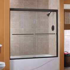 Cove 56 Inch to 60 Inch x 60 Inch H. Frameless Sliding Tub Door in Oil Rubbed Bronze with 1/4 Inch Clear Glass