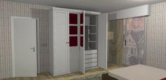 Diseño de armario en estilo contemporáneo con cuatro puertas batientes, dos en vitrina color burdeos.