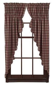 Our Everson Scalloped Lined Prairie Curtains are very country and quaint. They are a plaid fabric with shades of olive green, wine, browns, tans, and off white. https://www.primitivestarquiltshop.com/Everson-Scalloped-Lined-Prairie-Curtains_p_7577.html