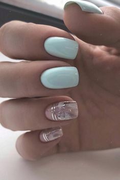 30 Cute Nail Design Ideas For Stylish Brides ❤ nail design wedding light blue and trendy silver foil effect nail_addict Blue Gel Nails, Light Blue Nails, Acrylic Nails, Coffin Nails, Blue Wedding Nails, Wedding Nails Design, Winter Nail Designs, Cute Nail Designs, Light Blue Nail Designs
