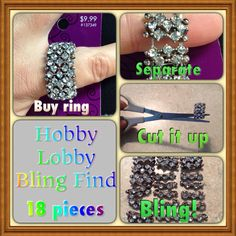 BLING TIP! This ring has 18 pieces of bling! It's made with stretch cord. Cut it, and you will have all this bling for $9.99, for your rainbow loom bracelet!!! Buying separately could be as much as $25.00!! #accessories #artsandcrafts #beads #bling #bracelets #blingqueen #chodaro_t #diy #diamond #diybands #doityourself #handmade #jewelry #loom #looming #loombeads #loombling #hobbylobby #official_rainbowloom #rainbowloom #rhinestones #rainbowloomfanpagefan