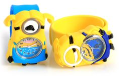 Adorable Pat Silicone Strap Quartz Wrist Watch with Single Eye Despicable Me Minion Dave Shaped Case - YellowWatches   RoseGal.com