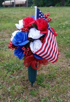 Flowers for Grave Vase. Erie Landmark Company offers personalized, artisan-made bronze and aluminum plaques and vases. Grave Flowers, Cemetery Flowers, Funeral Flowers, Cemetary Decorations, Memorial Day Decorations, Memorial Ideas, Funeral Flower Arrangements, Floral Arrangements, July Crafts