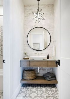 Powder Room Design & Decorating Ideas with Pictures Check out this beautiful powder room reveal! This tiny bathroom was transformed from boring to fresh and modern! I love the shiplap and the modern classic decorations. Home Design, Interior Design, Design Ideas, Design Design, Design Trends, Bath Design, Design Projects, Rustic Design, Modern Design