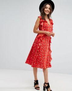 ASOS Ruffle Midi Dress in Ditsy Print