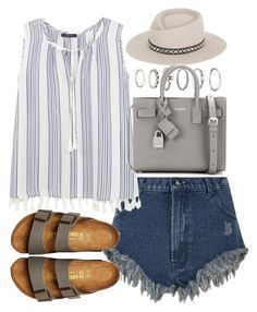 A fashion look from May 2016 by ferned featuring Violeta by Mango, Birkenstock, Yves Saint Laurent, Forever 21 and Gladys Tamez Millinery Cool Outfits, Casual Outfits, Fashion Outfits, Birkenstock Outfit, Summer Wear, Cute Shirts, Polyvore Outfits, Shorts, Spring Outfits
