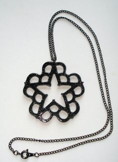 Black glossy glitter Black  Veil Brides inspired necklace on Etsy, $12.00  I want this so bad