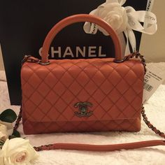 bd9ab7165e3b CHANEL COCO HANDLE ORANGE CAMEL Showcase my favorite items from my personal  collection. NOT FOR SALE [RARE] Orange in size Medium CHANEL Bags Shoulder  Bags