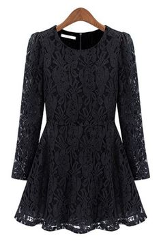 A-line Crocheted Lace Dress - OASAP.com