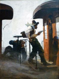 """N. C. Wyeth; Great Train Robbery, Cover illustration from """"New Story Magazine"""", 1912,"""