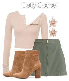 A fashion look from January 2018 featuring Sam Edelman ankle booties and NAKAMOL earrings. Browse and shop related looks. Betty Cooper Style, Betty Cooper Outfits, Tv Show Outfits, Teen Fashion Outfits, Betty Cooper Riverdale, Riverdale Fashion, Look Boho, Casual Cosplay, Look Vintage