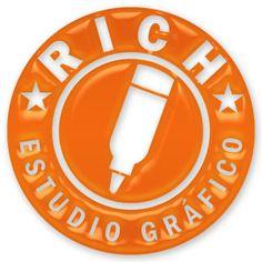 Logotipo de Rich estudio gráfico con efectos de relieve
