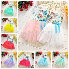 infantis Kids baby girl Summer casual dress Flowers Princess Tulle Tutu Dress Child Bowknot Bow Party Dress Children's Cloting