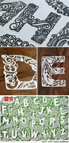 Typography and paper cutting, a great combination. Like bacon and just about… Paper Lace, Diy Paper, Paper Flowers, Kirigami, Hand Lettering, Lettering Design, Paper Cutting Templates, Arabesque, Paper Magic