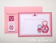 Babushka Doll Invitations Set of 8 - blank generic baby shower girl's children's first birthday party matryoshka nesting pink red teal. $12.00, via Etsy.