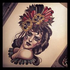 Pin up girl. Traditional tattoo flash. Amazing illustration.