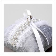 Woomi Pyo Jewelled Tulle Collection ll Crystal and Pearls on Silver Ring Pillow