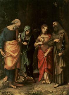 Четыре святых (слева Св. Петр, Св. Марта, Св.Мария Магдалина, Св.Леонард) - Корреджо