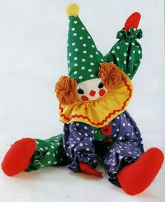 """Vintage Chart Sewing Pattern PDF to make A Colourful Cute Clown, Soft Body Cloth Doll Approx 23"""" Tall with Clothes A Digital Download"""