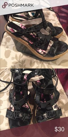 Ed hardy wedges Brand new! Straps around the ankle. About 4 1/2 in tall. Taking offers! Ed Hardy Shoes Wedges