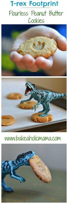 3 ingredient Peanut Butter Cookies (powdered sugar cookies) on @bakeaholicmama Plus super cute dino foot prints!