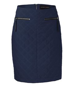 Look what I found on #zulily! Navy Quilted Moto Pencil Skirt #zulilyfinds