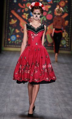 "Lena Hoschek at Mercedes-Benz Fashion Week in Berlin debuted her Spring/Summer 2013 collection, which was inspired by Mexico's ""Dia de los Muertos"" celebration High Fashion, Fashion Show, Fashion Design, Mercedes Benz, Mexico Fashion, Mexican Designs, Mexican Dresses, Vogue, Dress Skirt"